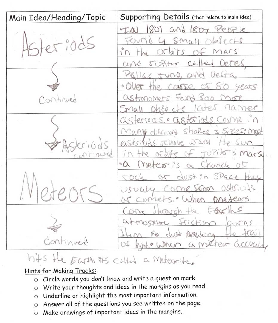 worksheet Supporting Details Worksheet qdailyscience science reading homework this student made lots of tracks and on the worksheet supporting details matched up with main ideas